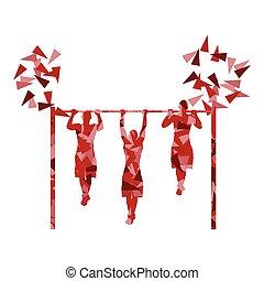 tirón, hecho, barra, polígono, atleta, arriba, ilustración,...