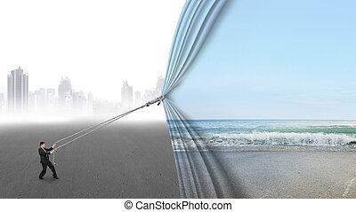 tirón, natural, gris, cubierta, cielo, mar, cityscape, ...
