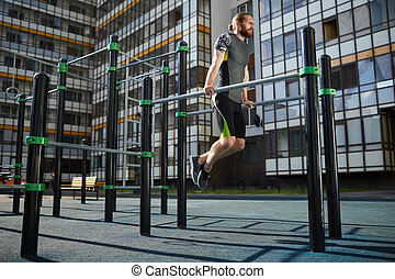 tirón - ups, atleta, practicar, muscular