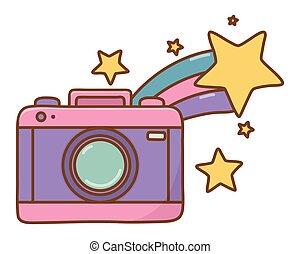 tir, appareil photo, étoile