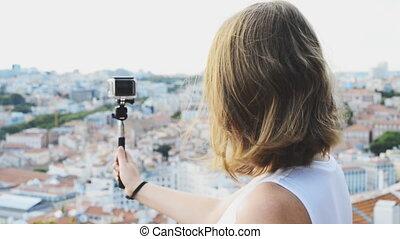 tir, appareil photo, femme, voyageur, video.