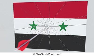 tir arc, accès, plaque., national, apparenté, drapeau, animation, flèche, syrie, infraction, sécurité, 3d