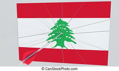 tir arc, accès, plaque., national, liban, apparenté, drapeau, animation, flèche, infraction, sécurité, 3d