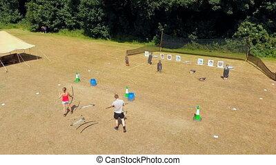tir arc, pratiquer, camp, archers, 4k, botte