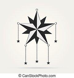 tir, blanc, étoile, isolé, noir