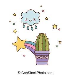 tir, cactus, nuage