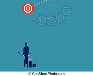 tir, concept, disparu, vecteur, flèches, business, illustration., homme affaires, target.