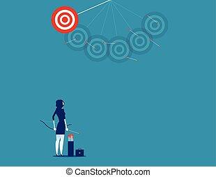 tir, concept, disparu, vecteur, flèches, femme affaires, business, illustration., target.