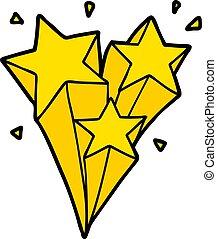 tir, dessin animé, étoiles