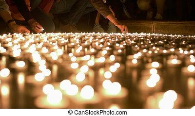 tir, gens, bougies, placer, haut, ceux, autre