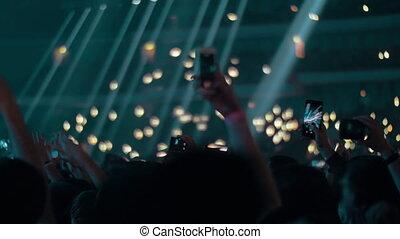 tir, lumières, onduler, ventilateurs, salle, cellphones, concert, musique