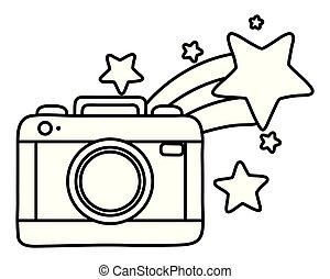 tir, noir, blanc, appareil photo, étoile