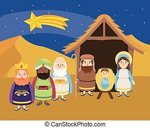 tir, rois, magiciens, étoile, jésus