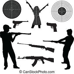 tir, silhouette, armes feu, homme