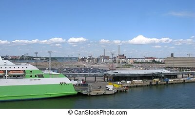 TIR trucks load on big ferry ship in Helsinki port