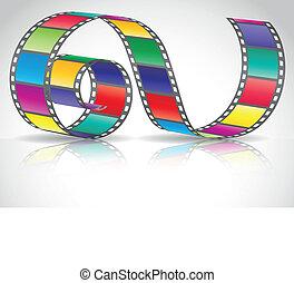 tira, color, película