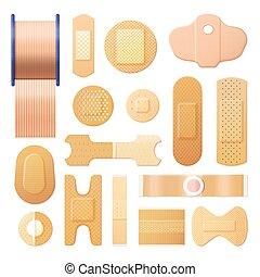 tira, elástico, adhesivo, realista, venda, yeso