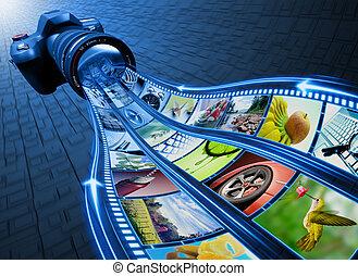 tira, película, cuadros