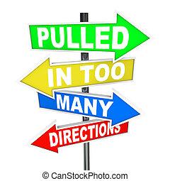 tirado, en, demasiado, direcciones, señales, énfasis,...
