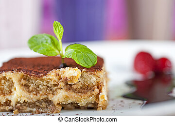 Tiramisu a la carte dessert - Closeup detail of a tiramisu a...