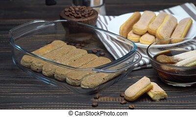 Tiramisu cake cooking - Italian Savoiardi ladyfingers...