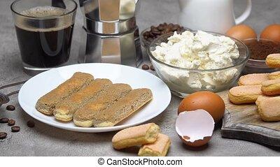 Tiramisu cake cooking - Savoiardi ladyfingers Biscuits,...