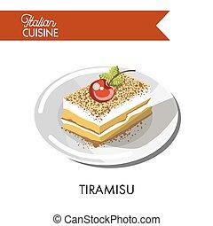Tiramisu cake Italian cuisine traditional chocolate pastry...