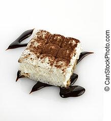 Tiramisu Cake On White Background