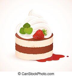 Tiramisu cake with cream and strawberry