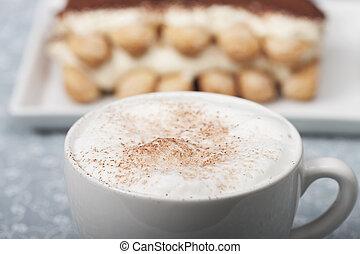 tiramisu, cappuccino, closeup