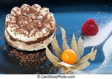 tiramisu, chiudere, dessert., su, italiano