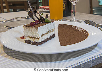 Tiramisu dessert in luxury a la carte restaurant