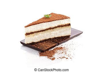 Tiramisu dessert. - Tiramisu dessert on chocolate bar...