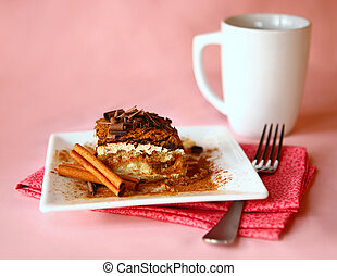 Tiramisu Dessert With Fork and Coffee Focus is on Ridge of...