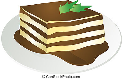 Tiramisu illustration - Illustration of a helping of ...