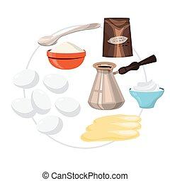 Tiramisu ingredients. Cooking the dessert at home.