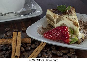 tiramisu on wood table - italian desert tiramisu with coffe ...