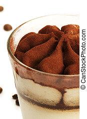 tiramisu soft focus closeup on white background with coffee ...