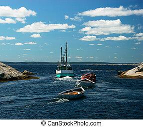 tirar, barcazas, barco de pesca