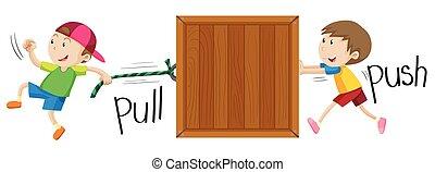 tirar, caja de madera, empujar, niño
