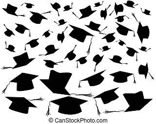 tirar, casquillos de la graduación, plano de fondo