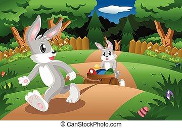 tirar, pascua, carrito, huevo, conejos