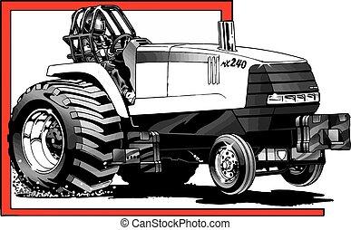 tirar, tractor, acción