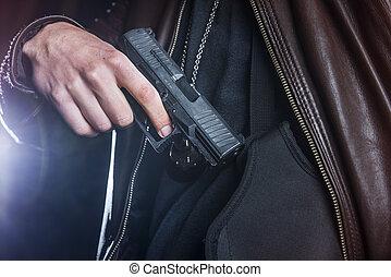 tirar, un, arma de fuego, afuera, de, un, pistolera, por, un, ley, enforcer