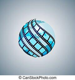 tiras, alrededor, globo, tres, envuelto, película