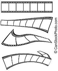 tiras, diseño, película