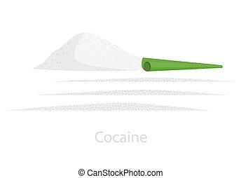 tiras, dosis, diapositiva, cocaína, dividido, verde, tubo