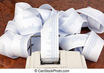 tiras, informática, costes, calculadora, ventas, escritorio, gastos