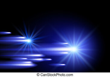 tiras, néon, estrelas, brilhar