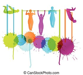 tirata, concetto, uomini, muscolare, vettore, fondo, idoneità, bodybuilding, ups